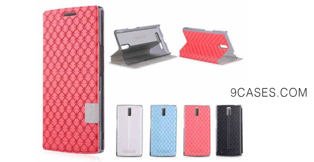 04-Forester Baseus Folio Stand Cover Brocade Case with Card Horder for OPPO Find 7 (Blue)