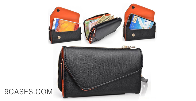 05-EPI Leather Wallet Wrist-let with Universal Phone Clutch fits OPPO Find 7 Case - BLACK & RUST ORANGE