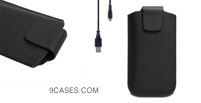 05-Yousave Accessories Sony Xperia M2 Case Black Lichee Leather Pouch Cover And Micro USB Cable