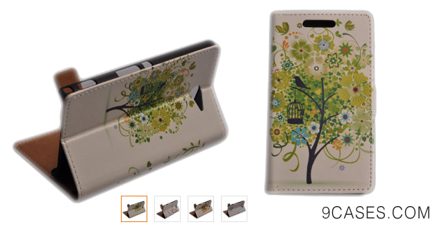 06-Einzige Slim Fit Leather Case Cover with Stand & Card Slot for Sony Xperia M2 with Free Universal Screen-stylus (Green Tree)