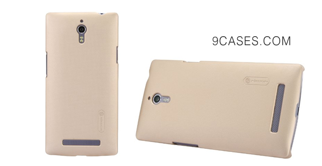 06-Nillkin Frosted Shield Hard Cover Case + LCD Guard for OPPO Find 7 X9007, Gold