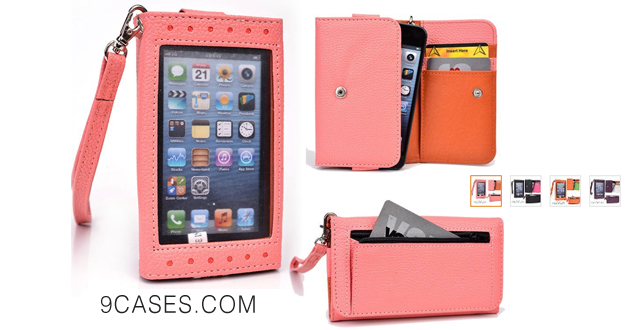 07-(Expose) Coral Wallet Phone Cover Case - Clutch Fits Oppo Find + NuVur ™ Key Chain ESAMEXP1