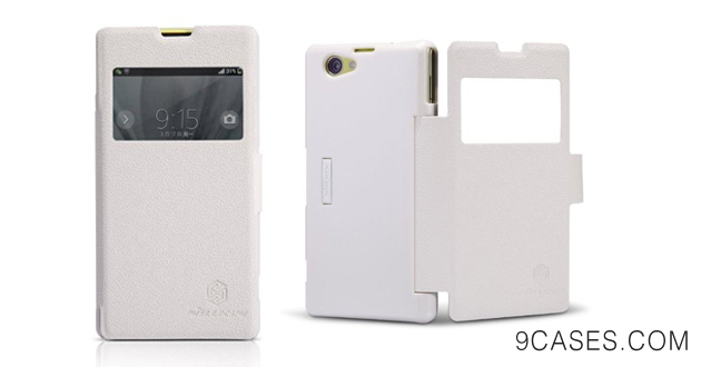 07-First2savv White Smart view Wallet Flip Case Cover for Sony Xperia M2