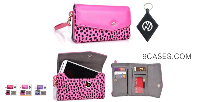 08-Leopard Purple Violet Carrying Wallet Case Phone Cover Fits Oppo Find + NuVur $#153; Keychain (ESMLMKU1)