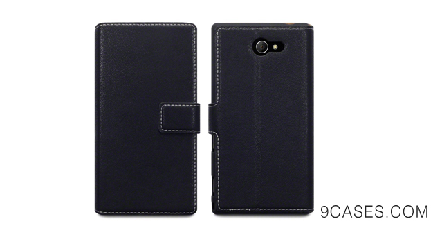 08-Terrapin Low Profile PU Leather Wallet Case with Viewing Stand & Card Slots for Sony Xperia M2 - Black