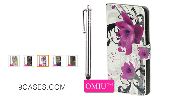 09-OMIU(TM) Elegant Purple Flowers Stand Leather Protective Case Cover With Credit Card Slots and A Stylus Pen Fit For LG G3