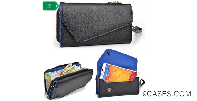 09-WRISTLET SMARTPHONE HOLDER WITH FULL ZIP COMPARTMENT- BLACK SAPHIRE BLUE- UNIVERSAL FIT FOR Sony Xperia M2