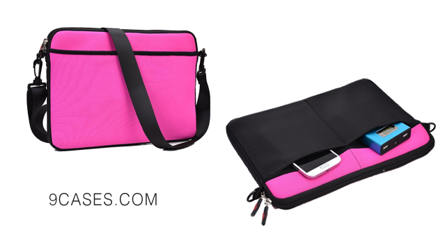 11-Tablet Crossbody Bag - Universal Shoulder Case (Magenta) fits Nokia Lumia 2520
