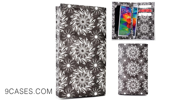 11-Tyvek Bifold Wallet with Universal Phone Case fits Sony Xperia M2 Cover - BLACK SWIRL