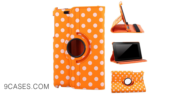 16-Generic Google Nexus 7 (The First Generation 2012 Model)Tablet Case - Orange Polka Dots Pattern PU Leather Auto Wake Sleep Smart Cover with Multi-Angle Stand