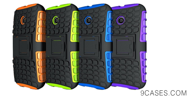 01-Exact Motorola Moto E Case [TANK Series] - Tough Rugged Dual-Layer Case with Built-in Kickstand for Motorola Moto E (XT1021  XT1022  XT1025) Blue