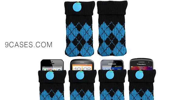 02-iTALKonline UNIVERSAL BLUE BLACK CHECKER Sock Case Cover Pouch With Detachable Strap HTC One E8 Ace