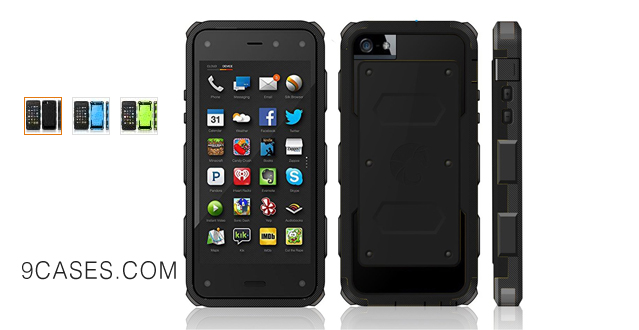 04-i-Blason Amazon Fire Case - Armorbox Dual Layer Hybrid Full-body Protective Case with Front Cover and Built-in Screen Protector Impact Resistant Bumpers (Black)