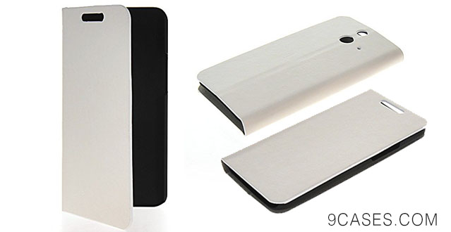 05-MOONCASE Slim Flip Wallet Card Pouch Stand Leather Shell Case Cover For HTC One E8 White - Copy