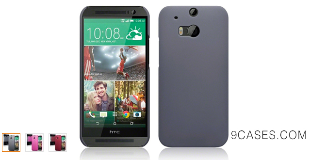 05-Terrapin Hybrid Rubberized Back Cover Hard Case for HTC One (M8 & E8) (Solid Grey)