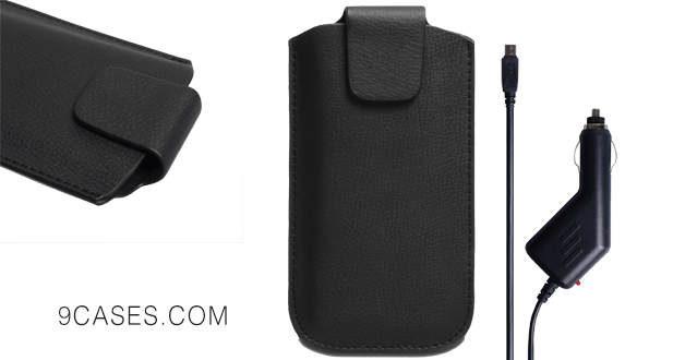 05-Yousave Accessories Motorola Moto E Case Black Lichee Leather Pouch Cover With Car Charger