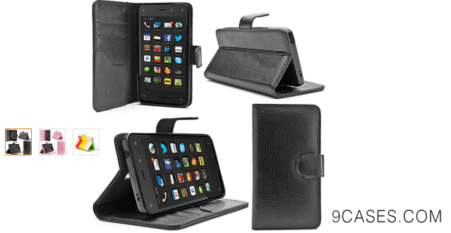 07-i-Blason Amazon Fire Phone Case - Slim Leather Wallet Book Cover with Stand Feature and Credit Card ID Holders (Black)