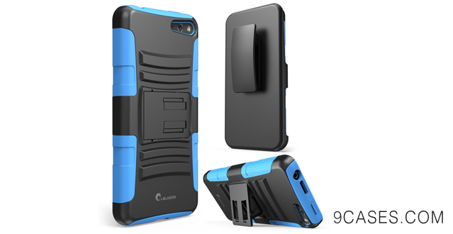 10-i-Blason Amazon Fire Phone Case - Prime Series Dual Layer Holster Case with Kickstand and Locking Belt Swivel Clip (Blue)
