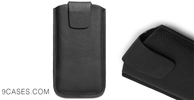 11-Caseflex Motorola Moto E Case Black Genuine Leather Lichee Leather Pouch Cover