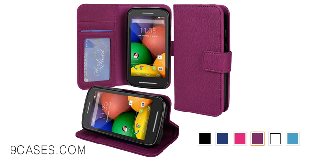 12-Abacus24-7 [Pocket Book] Motorola Moto E Wallet Case with Flip Cover & Stand [Purple Leather]