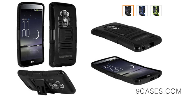 02-CASEFORMERS Duo Armor BLACK for LG G Flex Combo Case with Stand