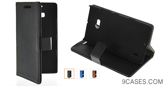 03-MOONCASE Litchi Skin Flip Leather Wallet Card Pouch Stand Back Case Cover For Nokia Lumia 930 Black