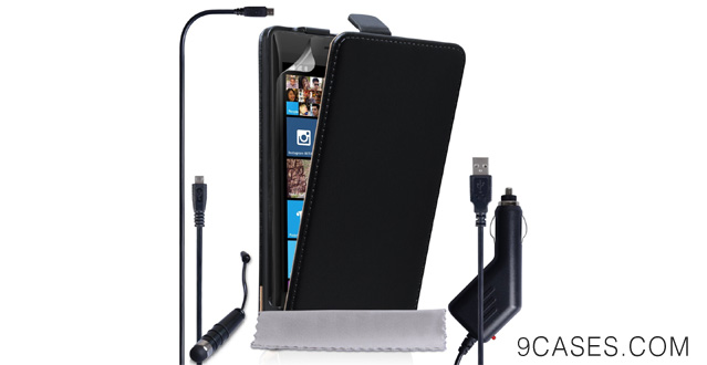 04-Caseflex Nokia Lumia 930 Case Black Genuine Leather Flip Cover With Mini Stylus Pen, Car Charger And Micro USB Cable