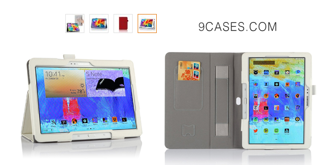 05-IVSO Samsung Galaxy Tab S 8.4 Slim-Book Stand Cover Case with Card Holder Hand Strap-Will only fit Samsung Galaxy Tab S 8