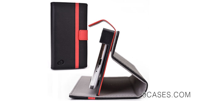 12-Cush Cases [PASSPORT EDITION] PU Leather Case for the BlackBerry Z3 Smartphone - Black Red