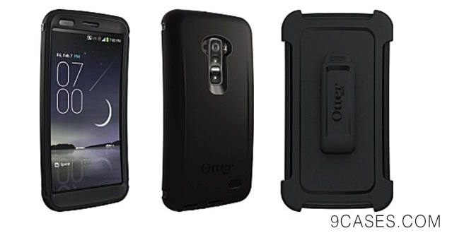 12-OtterBox Defender Series Case with Holster Clip for LG G Flex - Retail Packaging - Black