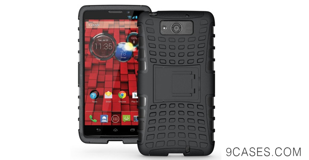 02-JKase DIABLO Series Tough Rugged Dual Layer Protection Case Cover with Build in Stand for Motorola Droid Ultra