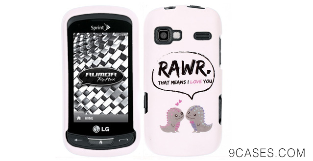 03-Fincibo (TM) Protector Cover Case Snap On Hard Plastic Front And Back For LG Rumor Reflex LN272 Xpression C395 - Dinosaurs Love Story