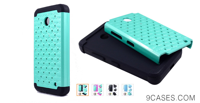 06-Thousand Eight(TM) For Nokia lumia 635, Nokia lumia 630 Diamond Studded Silicone Rubber Skin Hard Case
