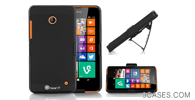 07-GearIT Nokia Lumia 635 630 Case - Ultra Slim Shell Case Cover with Holster Kickstand (