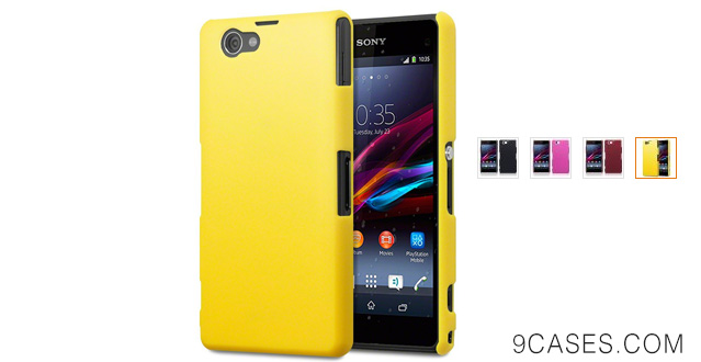 07-Terrapin Hybrid Rubberized Back Cover Hard Case for Sony Xperia Z1 Compact (Solid Yellow)
