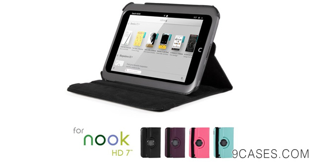 08-GMYLE(R) Black 360 Degree Rotating PU leather Folio Stand Case Cover for Nook HD 7