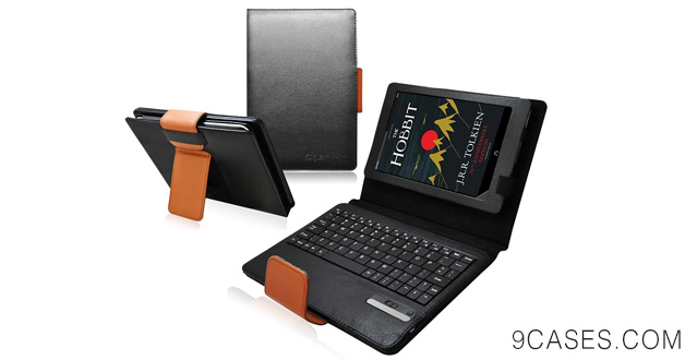 08-Ionic Bluetooth Keyboard Tablet Stand Leather Case for New Barnes & Noble Nook HD+ 9-inch Wifi