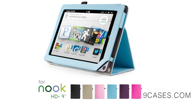 10-GMYLE(TM) Light Blue PU Leather Slim Folio Magnetic Flip Stand Case Cover with Wake Up Sleep Function for Barnes & Noble Nook HD+ Plus 9