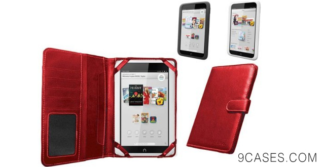 10-Mitab Navitech Red Faux Leather Case Cover Sleeve For The Nook Hd 7 Inch Ereader Tablet