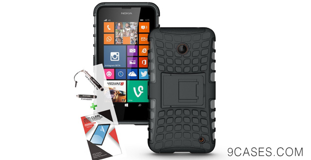 11-3 in 1 Bundle Nokia Lumia 635 Nokia Lumia 630 Armor Grenade Stand Hard Gel Case