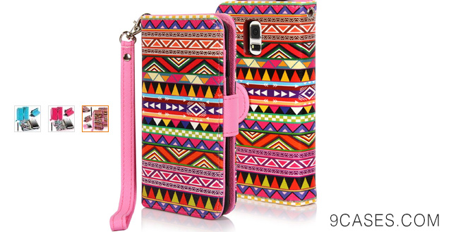 11-E LV Deluxe PU Leather Flip Wallet Case Cover for Samsung Galaxy S5 Mini Smartphone with 1 Black Stylus - Colorful Tribal