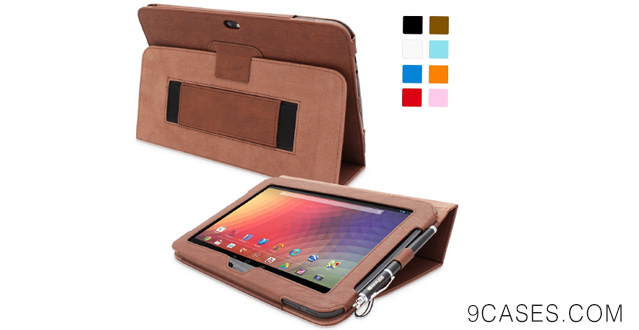 12-Snugg Nexus 10 Leather Case - Flip Stand Cover with Elastic Strap and Premium Nubuck Fibre Interior - Automatically Wakes and Puts the Google Nexus 10 to Sleep