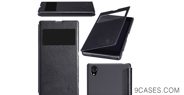 14-Nilkin Nillkin PU Leather Cover Matte Back Hard Case for Sony Xperia Z1