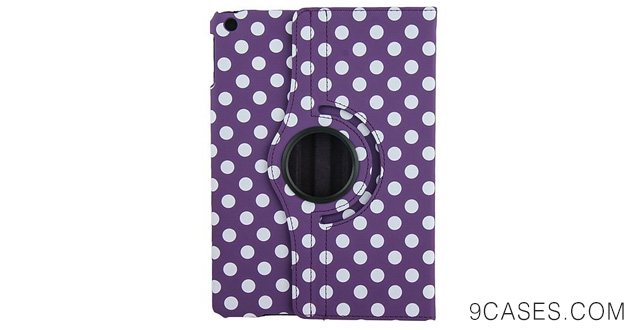 15-Purple Polka Dots Design 360 Degree Rotating PU leather Folio Stand Case Cover for Nook HD 7