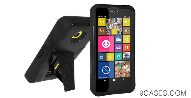 16-Amzer Double Layer Hybrid Case Cover with Kickstand for Nokia Lumia 635 630 - Retail Packaging - Black