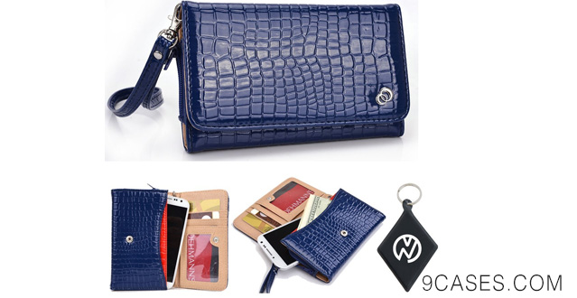 16-Blue Patent Leather Wallet Wristlet carrying cover case for Motorola Droid Ultra