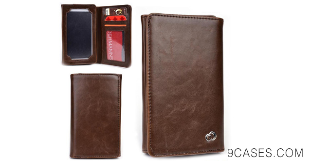 17-Universal PU Leather Unisex Bifold Wallet fits Nokia Lumia 635 Case - BROWN