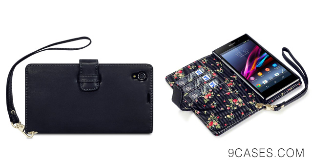 19-Sony Xperia Z1 Premium Faux Leather Wallet Case with Floral Interior