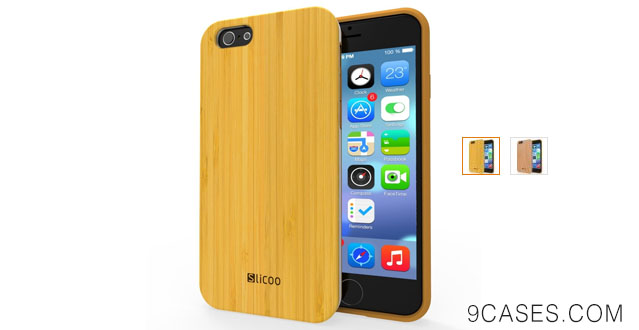 03-iPhone 6 Case Bamboo, Slicoo Bamboo Wooden Slim Case for iPhone 6 4