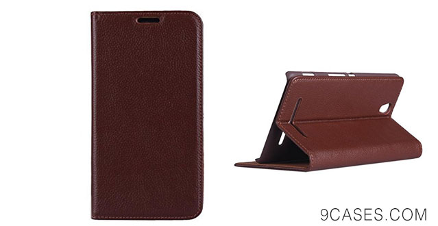 05-Sony Xperia C3 D2533 Case , Topratesell Structure Wallet Flip Real Leather Case Bag Pouch for Sony Xperia C3 D2533 with Stand-up Feature (Brown)